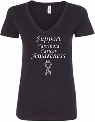 Support Carcinoid Cancer Awareness Ladies V-Neck