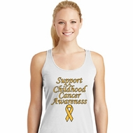 Support Childhood Cancer Awareness Ladies Dry Wicking Racerback