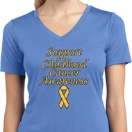 Support Childhood Cancer Awareness Ladies Dry Wicking V-neck