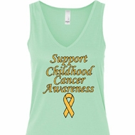Support Childhood Cancer Awareness Ladies Flowy V-neck Tank Top