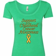 Support Childhood Cancer Awareness Ladies Scoop Neck