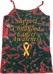 Support Childhood Cancer Awareness Ladies Tie Dye Camisole