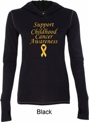 Support Childhood Cancer Awareness Ladies Tri Blend Hoodie