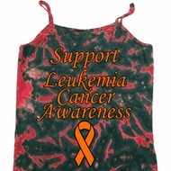 Support Leukemia Cancer Awareness Ladies Tie Dye Camisole Tank Top