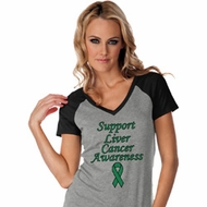 Support Liver Cancer Awareness Ladies Contrast V-neck