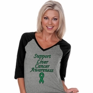 Support Liver Cancer Awareness Ladies V-neck Raglan