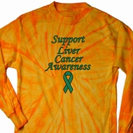 Support Liver Cancer Awareness Long Sleeve Tie Dye Shirt