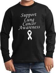 Support Lung Cancer Awareness Kids Long Sleeve
