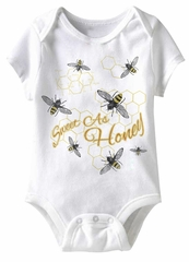 Sweet As Honey Funny Baby Romper White Infant Babies Creeper