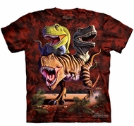 T-Rex Dinosaurs Kids Shirt Tie Dye Collage T-shirt Tee Youth