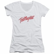 Ted Nugent Juniors V Neck Shirt Clean Logo White T-Shirt
