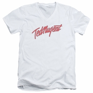 Ted Nugent Slim Fit V-Neck Shirt Clean Logo White T-Shirt