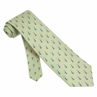 Teed Off Tie Green Silk Necktie - Mens Sports Neck Tie