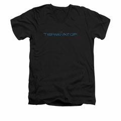 Terminator Shirt Slim Fit V Neck Circuit Board Logo Black Tee T-Shirt
