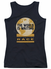 The Amazing Race Juniors Tank Top Waiting World Black Tanktop