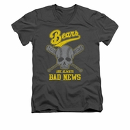 The Bad News Bears Shirt Slim Fit V Neck Always Bad News Charcoal Tee T-Shirt