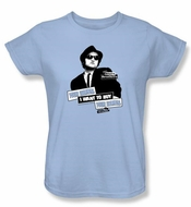 The Blues Brothers Ladies T-shirt Movie Women Light Blue Tee Shirt