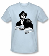 The Blues Brothers Slim Fit T-shirt Movie Adult Light Blue Shirt