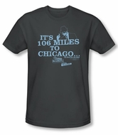 The Blues Brothers Slim Fit T-shirt Movie Chicago Adult Charcoal Shirt