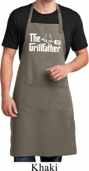 6dcc8540b88 The Grillfather White Print Mens Full Length Apron with Pockets ...