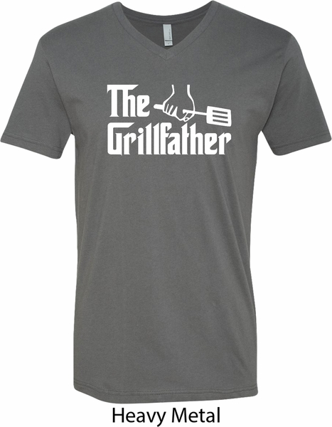 b752c576fb4 The Grillfather White Print Mens V-Neck Shirt - The Grillfather ...