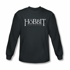 The Hobbit Battle Of The Five Armies Shirt Ornate Logo Long Sleeve Charcoal Tee T-Shirt