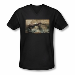 The Hobbit Desolation Of Smaug Shirt Slim Fit V Neck Epic Journey Black Tee T-Shirt