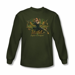 The Hobbit Desolation Of Smaug Shirt Tauriel Long Sleeve Military Green Tee T-Shirt