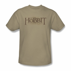 The Hobbit Desolation Of Smaug Shirt Textured Logo Adult Sand Tee T-Shirt