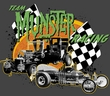 The Munsters T-shirt Team Munster Adult Charcoal Gray Tee Shirt