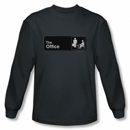 The Office Shirt Sign Logo Long Sleeve Charcoal T-Shirt
