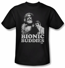 The Six Million Dollar Man Shirt Bionic Buddies Adult Black T-Shirt