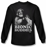 The Six Million Dollar Man Shirt Bionic Buddies Long Sleeve Black Tee
