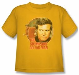 The Six Million Dollar Man Shirt Kids Run Faster Gold Youth Tee T-Shirt