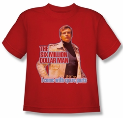 The Six Million Dollar Man Shirt Kids Spare Pants Red Youth Tee T-Shirt