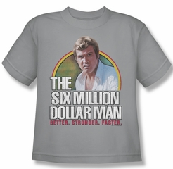 The Six Million Dollar Man Shirt Kids Stronger Faster Silver Youth Tee T-Shirt