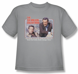 The Six Million Dollar Man Shirt Kids The First Silver Youth Tee T-Shirt