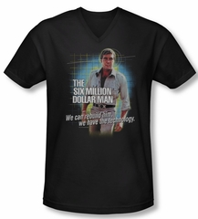 The Six Million Dollar Man Shirt Slim Fit V Neck Technology Black Shirt