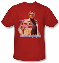 The Six Million Dollar Man Shirt Spare Pants Adult Red Tee T-Shirt