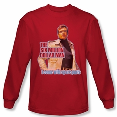 The Six Million Dollar Man Spare Pants Long Sleeve Red Tee T-Shirt