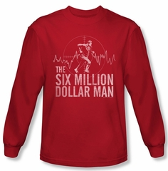 The Six Million Dollar Man Target Long Sleeve Red Tee T-Shirt
