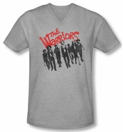 The Warriors Shirt Slim Fit V Neck The Gang Athletic Heather Tee T-Shirt
