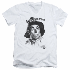 The Wizard Of Oz  Slim Fit V-Neck Shirt Brainless Scarecrow White T-Shirt