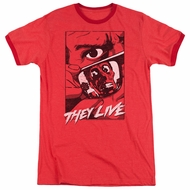 They Live  Graphic Poster Red Ringer Shirt