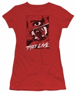 They Live  Juniors Shirt Graphic Poster Red T-Shirt