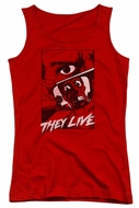 They Live  Juniors Tank Top Graphic Poster Red Tanktop