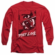 They Live  Long Sleeve Shirt Graphic Poster Red Tee T-Shirt