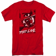 They Live Shirt Graphic Poster Tall Red T-Shirt