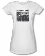 Three Stooges Junior Shirt Never Scared White Tee T-Shirt