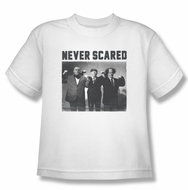 Three Stooges Kids Shirt Never Scared White Tee T-Shirt